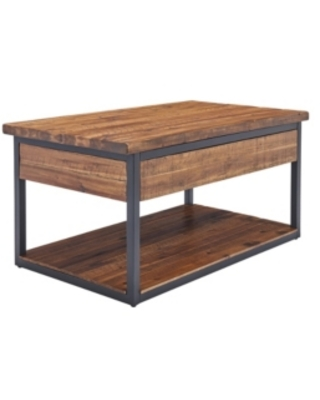 Alaterre Furniture Claremont Rustic Wood Coffee Table with Low Shelf