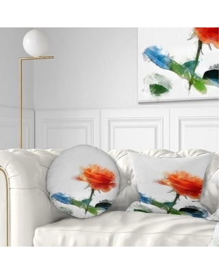 Get Ahold Of Fantastic Deals On Designart Orange Rose Flower With Splashes Floral Throw Pillow Rectangle 12 In X 20 In Medium