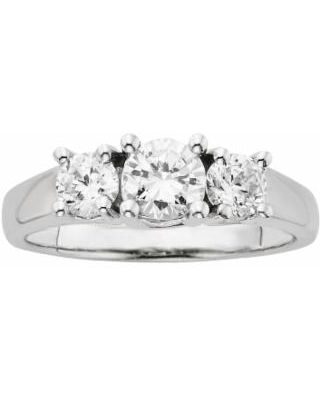 18k White Gold 1-ct. T.W. IGL Certified Round-Cut Colorless Diamond 3-Stone Ring, Women's, Size: 5