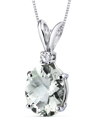 """2.24 ct Oval Green Amethyst and Diamond Accent Pendant in 14K White Gold, 18"""""""