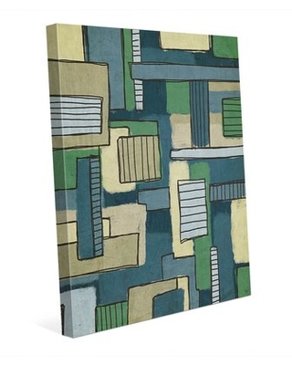 "Bars and Boxes Green and Blue Painting Print on Wrapped Canvas Click Wall Art Size: 10"" H x 8"" W x 0.75"" D"