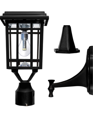 edc9251f922 Gama Sonic Prairie Bulb Single Black Integrated LED Outdoor Solar Post Light  with 3-Mounting