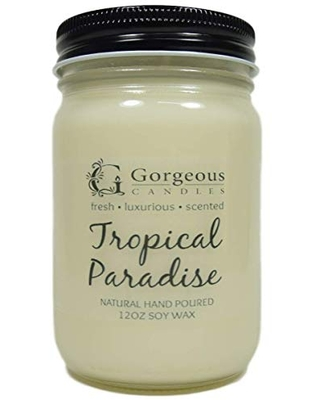 Tropical Paradise Natural Soy Candle, Gorgeous Candles, 12 oz Canning Jars, Natural Scented Soy Candles, Hand Poured Soy Candles, Scented Candle, Aromatherapy Candles