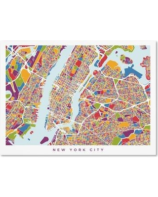 Special Prices On Wrought Studio New York City Street Map V Graphic Art Print On Wrapped Canvas Canvas Fabric In Brown Purple Yellow Size 18 H X 24 W Wayfair