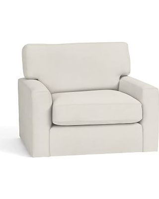 Turner Square Arm Upholstered Swivel Armchair without Nailheads, Down Blend Wrapped Cushions, Denim Warm White
