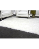 "House of Hampton Linden Hand Knotted Faux Fur Ivory Area Rug HOHM6821 Rug Size: Rectangle 2'3"" X 3'6"""