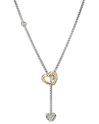 David Yurman Sterling Silver & 18K Yellow Gold Cable Collectibles Heart Y Necklace with Diamonds, 21