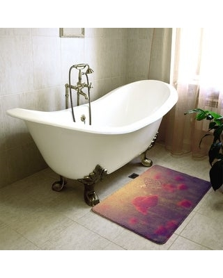 Duane Classic Butterfly and Rose Bath Mat (21 x 34 - Red)