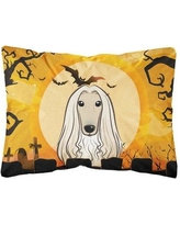 The Holiday Aisle EmeraldCove Halloween Afghan Hound Fabric Indoor/Outdoor Throw Pillow BF148618