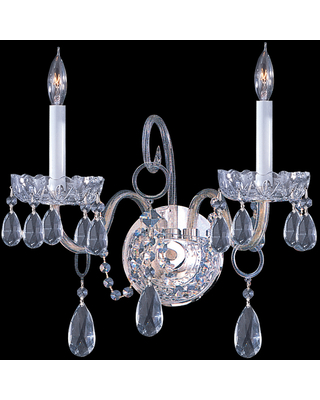 Crystorama Traditional Crystal 2-Light 12 inch Wall Sconce in Polished Chrome with Clear Hand Cut Crystals