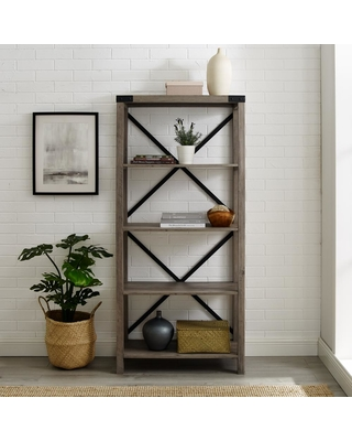 Walker Edison Furniture Company 64 in. Grey Wash Farmhouse Wood and Metal Bookcase