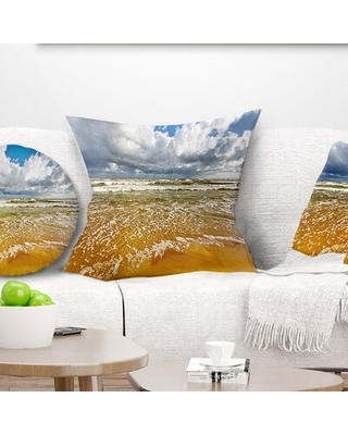 Seascape Stormy Summer Sea with Clouds Pillow