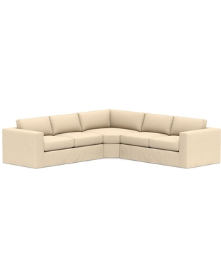 Carmel Square Arm Slipcovered 3-Piece L-Shaped Wedge Sectional, Down Blend Wrapped Cushions, Performance Everydayvelvet(TM) Buckwheat