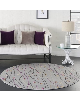 Eclectic Essentials Botanical Grey Area Rug