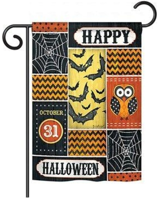 """Breeze Decor Halloween Happy 2-Sided Polyester House Flag 62060 Size: 40"""" H x 28"""" W"""