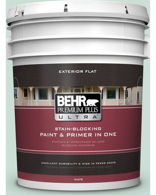 BEHR ULTRA 5 gal. #M430-2 Ice Rink Flat Exterior Paint and Primer in One