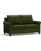 "Cameron Roll Arm Leather Loveseat 66"", Polyester Wrapped Cushions, Leather Legacy Forest Green"