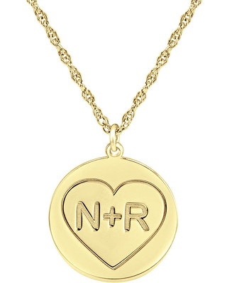 Personalized Couples Engraved Initial Pendant Necklace, Yellow