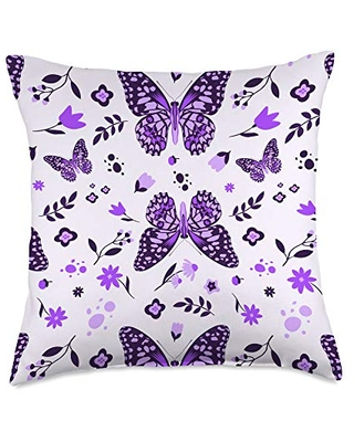 Cute Seamless Butterfly Shop Funny Monarch Cute Entomology Butterfly Pattern Throw Pillow, 18x18, Multicolor