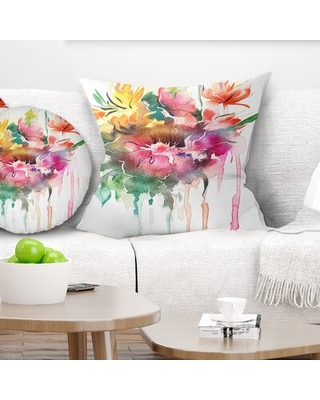 """Floral Watercolor Floral Illustration Pillow East Urban Home Size: 18"""" x 18"""", Product Type: Throw Pillow"""