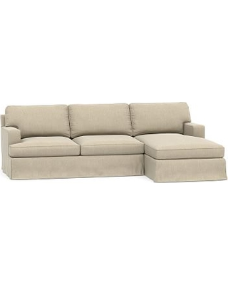 Townsend Square Arm Slipcovered Left Arm Sofa with Chaise Sectional, Polyester Wrapped Cushions, Sunbrella(R) Performance Chenille Cloud