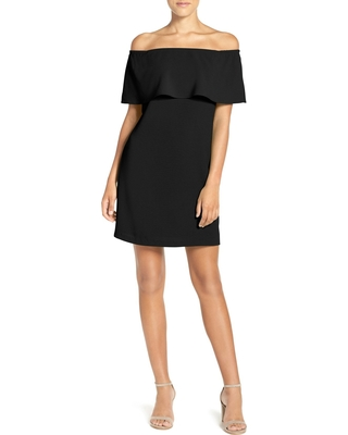 Women's Charles Henry Off The Shoulder Dress, Size X-Small - Black
