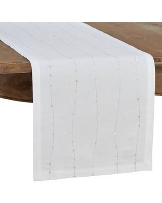 """Cotton Table Runner with Embroidered Design (16""""x72"""")"""