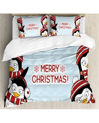 Kinkead New Year Quote Cute Penguins with Hats and Scarf Snowflakes Kids Decor Duvet Cover Set