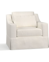 York Slope Arm Slipcovered Deep Seat Armchair, Down Blend Wrapped Cushions, Denim Warm White