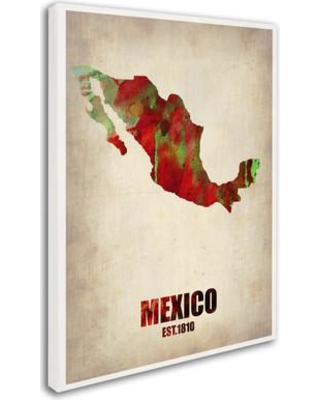 "Trademark Art 'Mexico Watercolor Map' Graphic Art on Wrapped Canvas ALI0177-C Size: 47"" H x 35"" W x 2"" D"