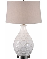 Uttermost Camellia Distressed Gloss White Ceramic Table Lamp