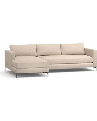 Jake Upholstered Right Arm Sofa with Chaise Sectional with Bronze Legs, Polyester Wrapped Cushions, Sunbrella(R) Performance Sahara Weave Oatmeal