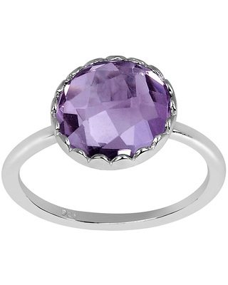 Amethyst Sterling Silver Round Promise Ring by Orchid Jewelry (8 - Amethyst)