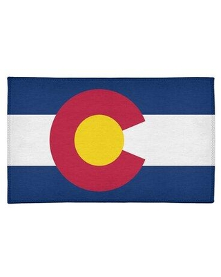 East Urban Home Colorado Flag Chenille Blue/Red/Yellow Area Rug FCLR9661 Rug Size: Rectangle 2' x 3'