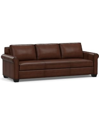 """York Roll Arm Leather Grand Sofa 98"""" with Bench Cushion, Polyester Wrapped Cushions, Burnished Walnut"""