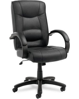 Alera Strada Series High-Back Leather Executive Chair ALESR41LS Upholstery: Black Leather