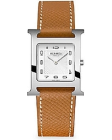 HERMÈS Heure H, Stainless Steel & Leather Strap Watch - Brown
