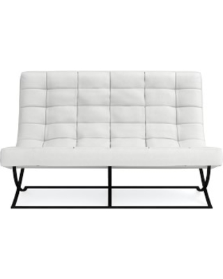 James Loveseat, Brushed Canvas, White, Bronze