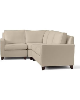 Cameron Square Arm Upholstered Right Arm 3-Piece Wedge Sectional, Polyester Wrapped Cushions, Twill Parchment