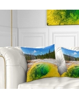Great Deal On Landscape Evening At Morning Glory Pool Pillow East Urban Home Size 16 X 16 Product Type Throw Pillow