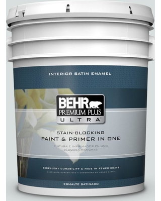 BEHR ULTRA 5 gal. #MQ3-50 River Veil Satin Enamel Interior Paint and Primer in One