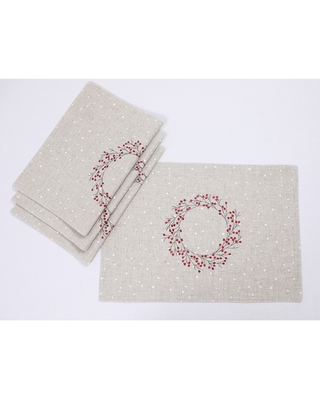 """Holly Berry Wreath Christmas Placemats 14""""x20"""", Linen Blend, Set of 4 (16""""Round - Gray)"""