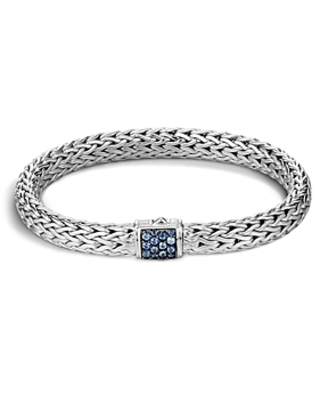 John Hardy Classic Chain Sterling Silver Lava Medium Bracelet with Blue Sapphires