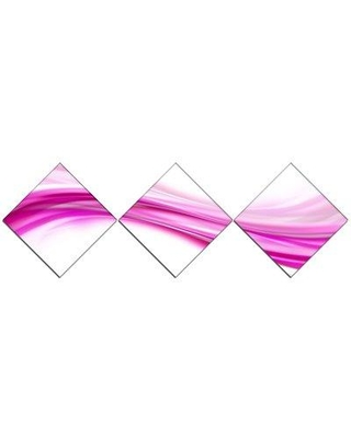 East Urban Home 'Pink Abstract Waves' Graphic Art Print Multi-Piece Image on Canvas URBR1601