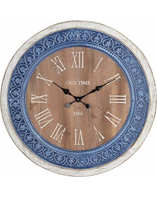 Deco 79 Wall Clocks Large White Blue Brown Black
