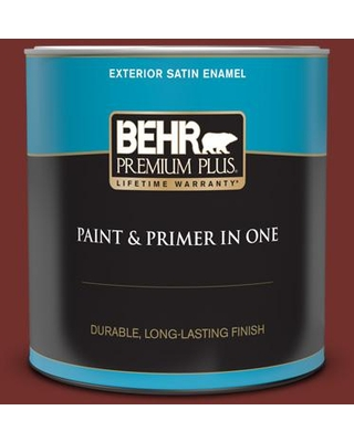 BEHR PREMIUM PLUS 1 qt. #BXC-76 Florence Red Satin Enamel Exterior Paint and Primer in One