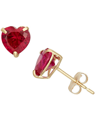 Lab Created Red Ruby 10K Gold 6.1mm Stud Earrings, One Size