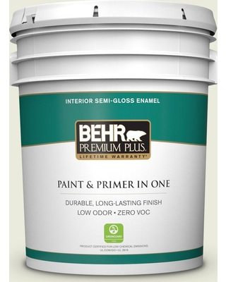 BEHR Premium Plus 5 gal. #BWC-18 Spring White Semi-Gloss Enamel Low Odor Interior Paint and Primer in One