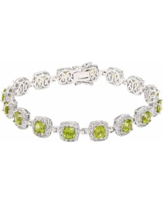 "Sterling Silver Peridot & Lab-Created White Sapphire Halo Bracelet, Women's, Size: 7.5"", Green"