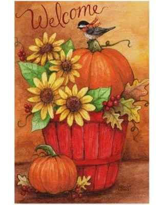 """Winston Porter 'Sunflower and Pumpkin Red Basket' Acrylic Painting Print on Wrapped Canvas WNPO5344 Size: 24"""" H x 16"""" W x 2"""" D"""